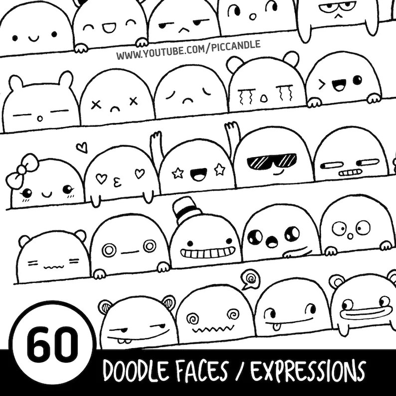 60 Cute Doodle Faces / Expressions Printable Practice