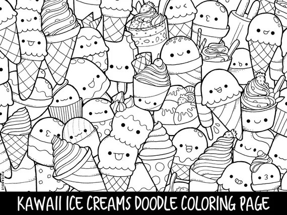 Ice Creams Doodle Coloring Page Printable Cute Kawaii Etsy