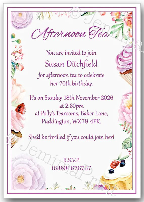 printed personalised afternoon tea birthday party invitations 30th 40th 50th 60th 70th 80th 90th 100th female floral x10 with envelopes