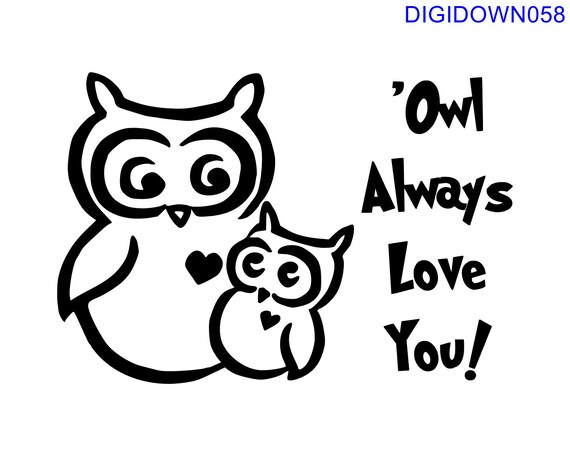 Download Owl Always Love You w/Two Owls SVG Cut File mtc svg pdf | Etsy