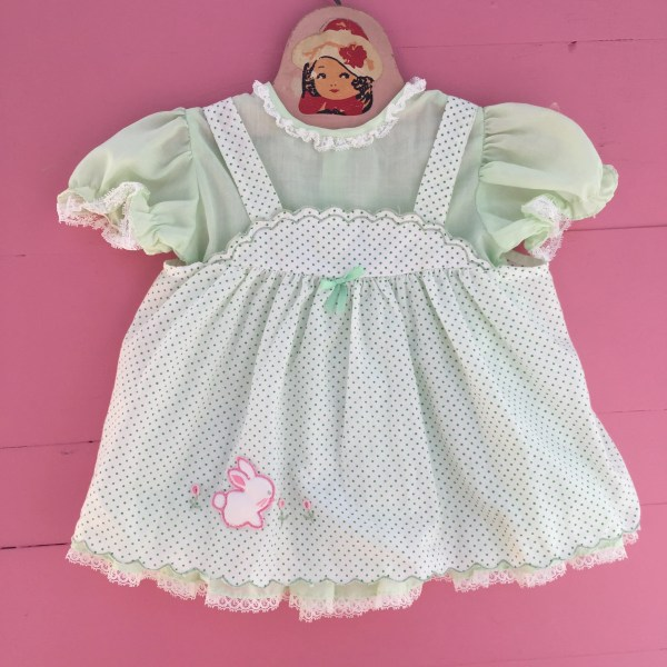 Vintage Baby Dress Size 12 Months Apron Embroidered