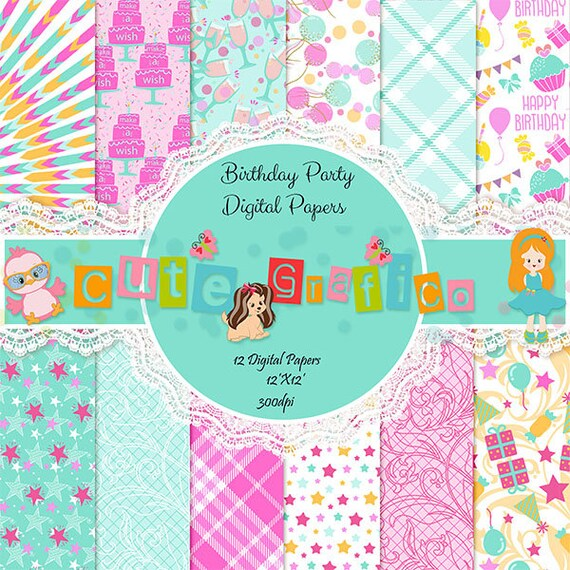 birthday digital paper with