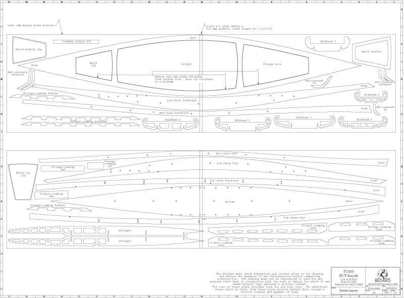 F1430 Sit On Top Kayak Full Size Templates, Set of Plans