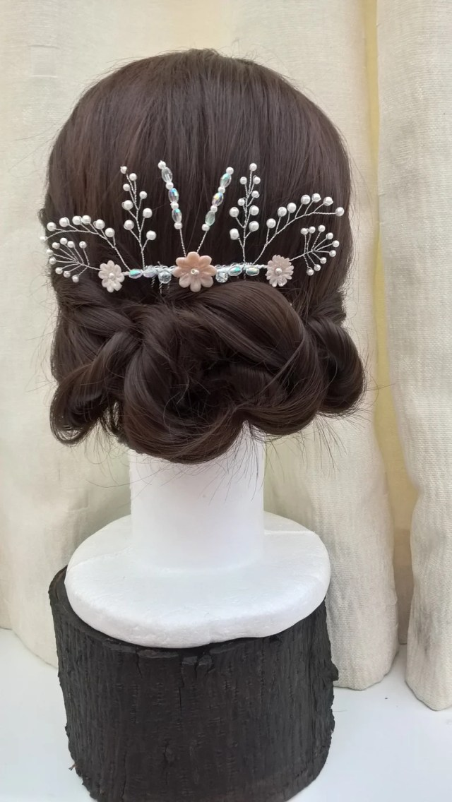 champagne on ice' bridal comb, evening wear, prom hair accessories,