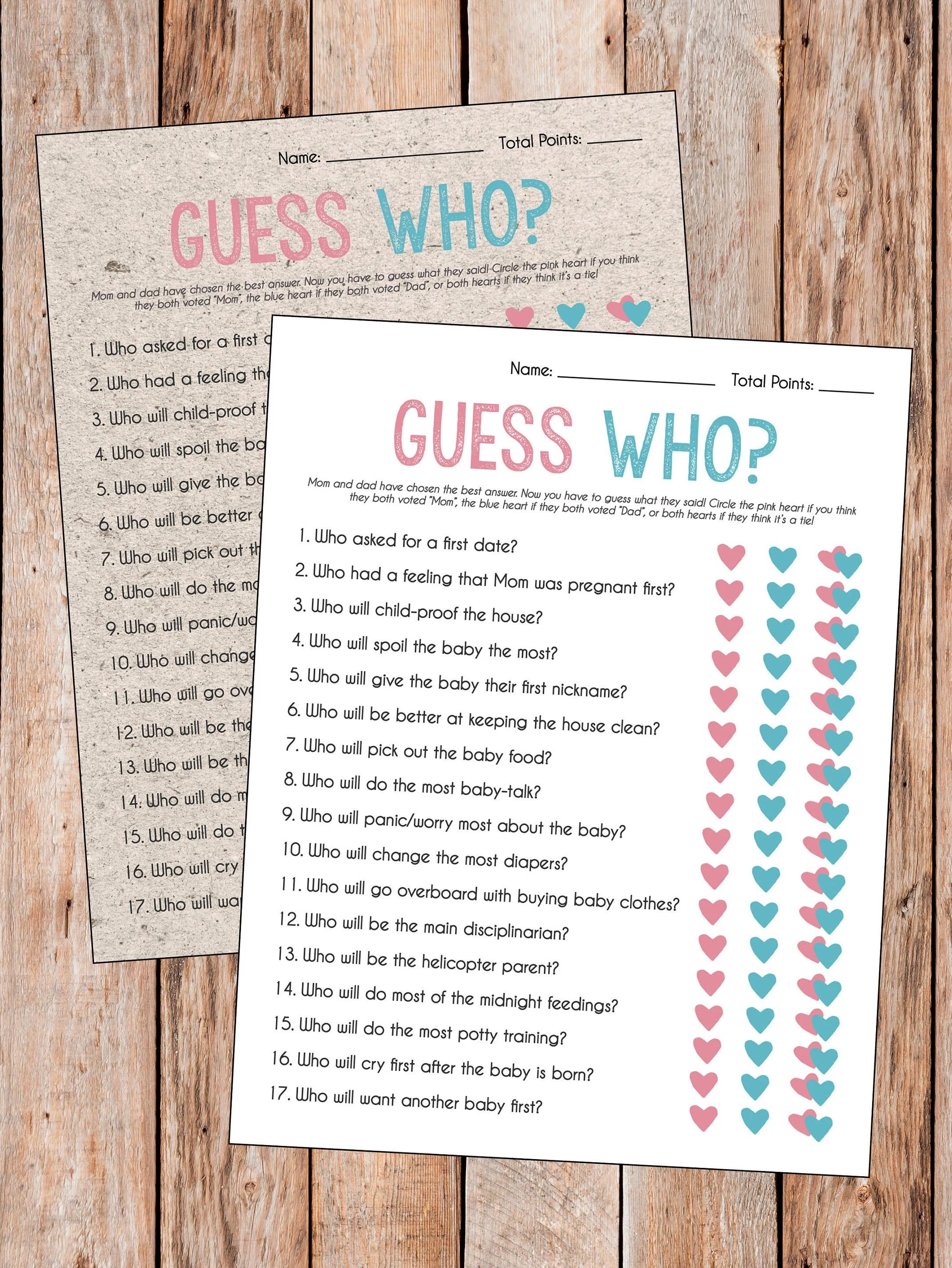 Mom And Dad Trivia Baby Shower Game : trivia, shower, Guess, Mommy, Daddy, Shower