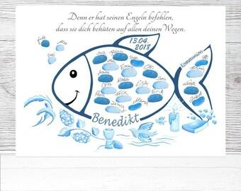 Tauffisch Fingerabdruck Fisch Taufe Taufgeschenk Geschenk