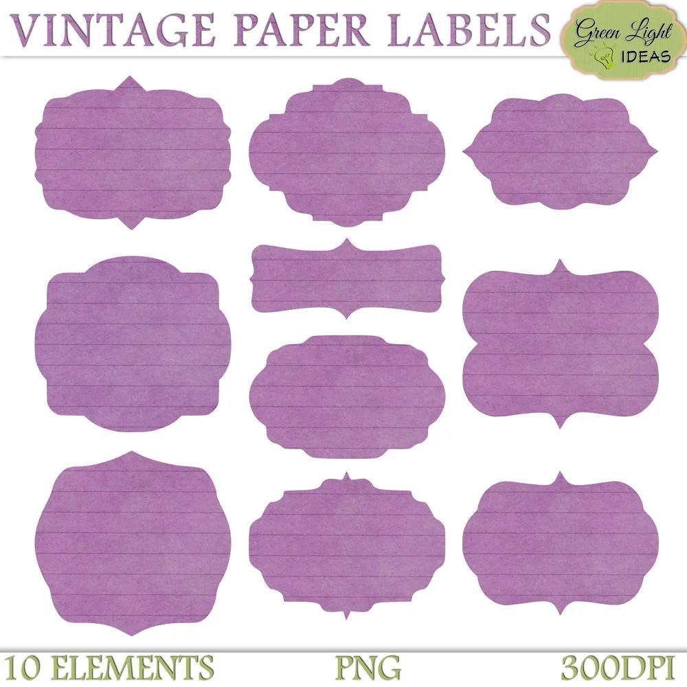 digital labels vintage purple