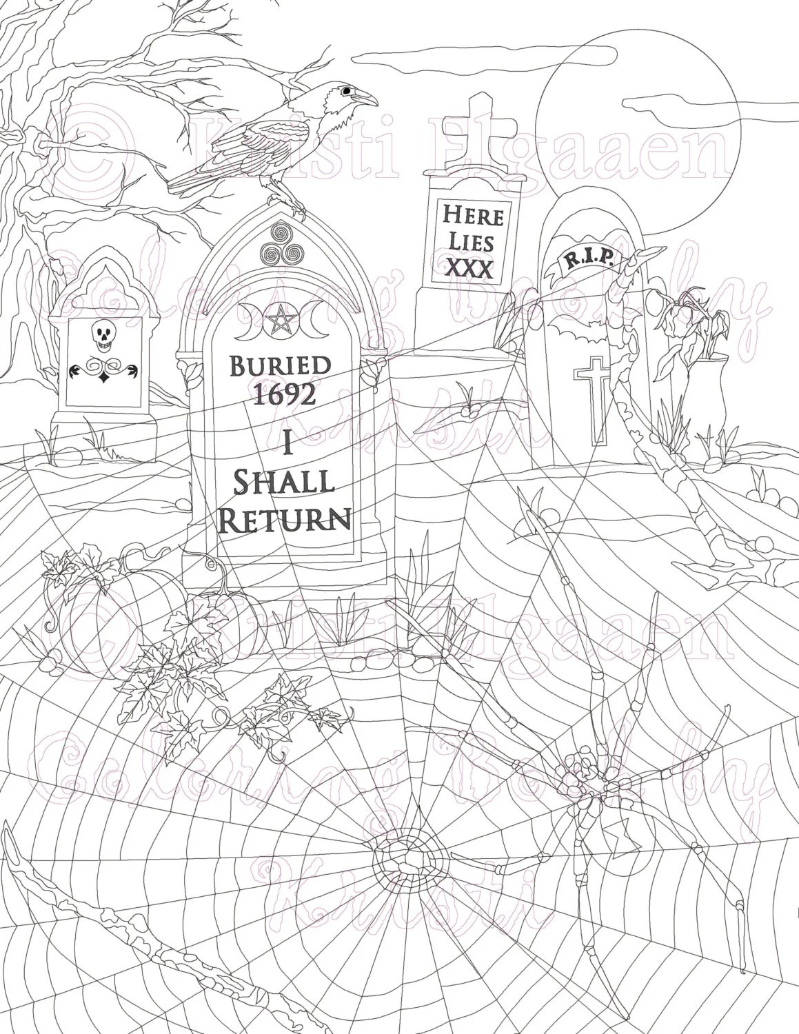 The Graveyard zoom Fantasy Art Adult Coloring Page