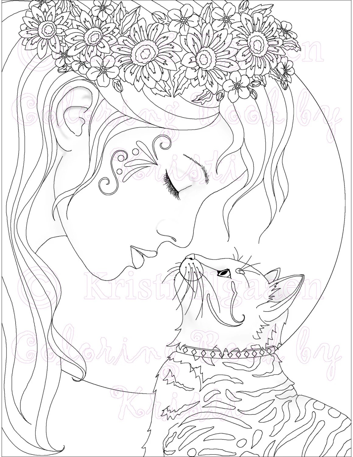 Adult Coloring Page Cat Coloring Page Fantasy Coloring The