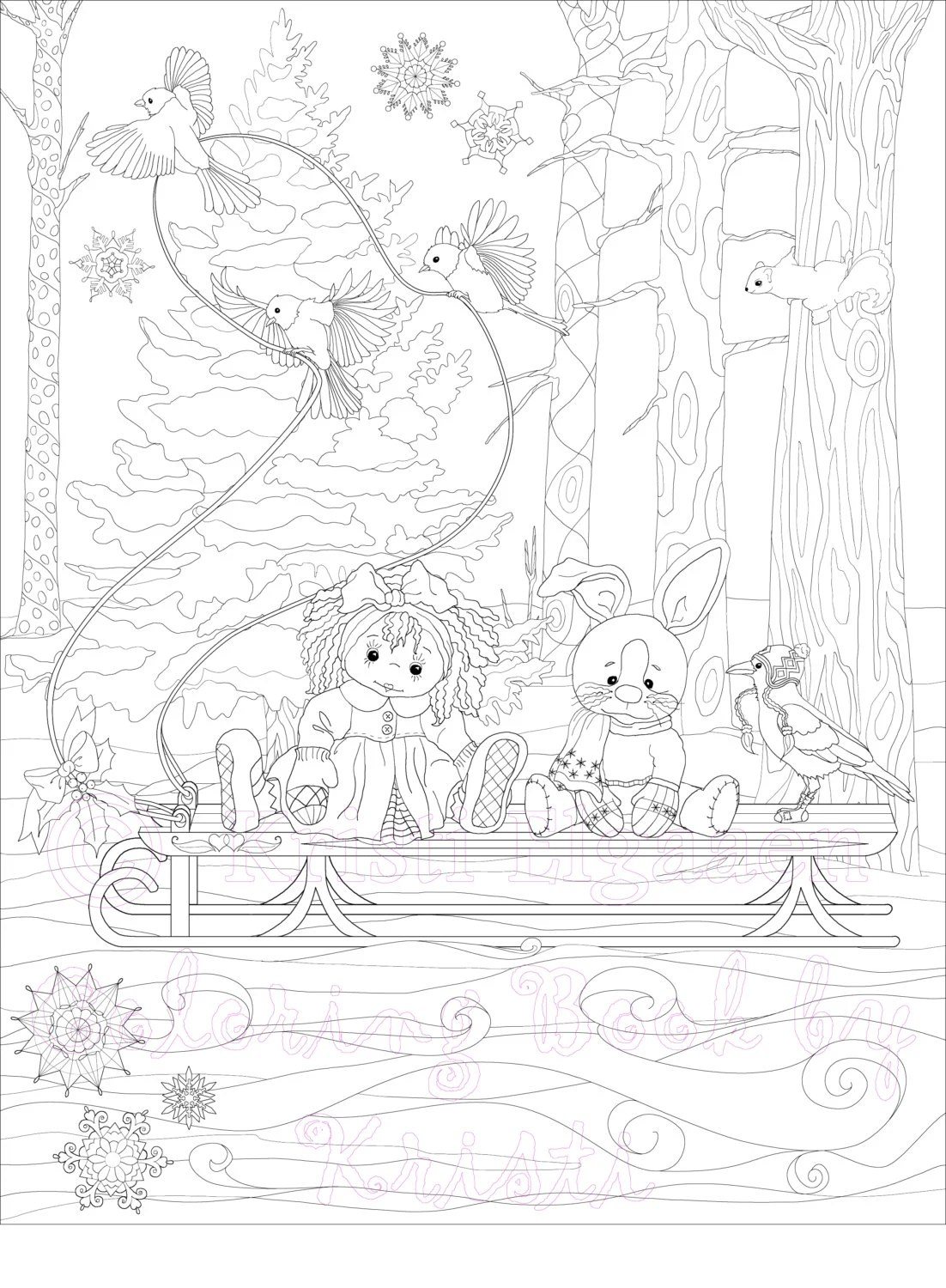 Little Witches and Wild Things Adult Coloring Page