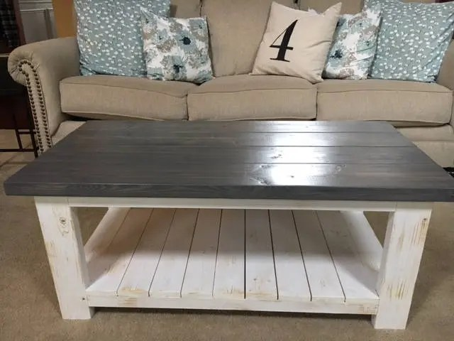 fatigued rustic coffee table with shiplap bottom shelf atlanta only