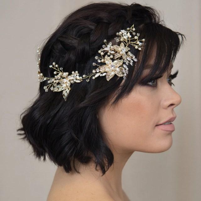 gold pearl opal bridal hairpiece floral hair vine wedding headpiece boho crown hair wreath handmade bridal accessory flower hair comb