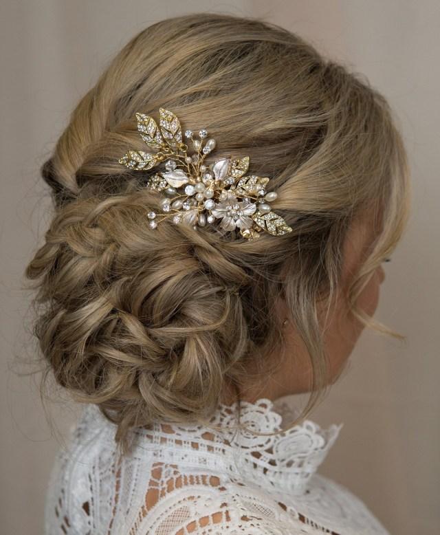 floral gold pearl bridal hair piece wedding hair vine gold leaf crystal hair clip crystal hair pin boho hair comb bride hair accessories