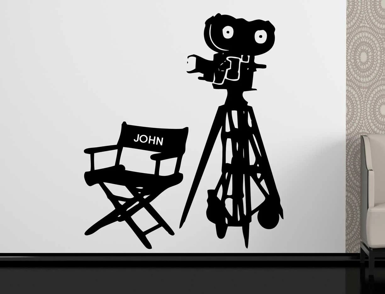 Personalized Directors Chair Personalized Directors Seat With Camera Wall Sticker Customized Directors Chair Wall Decal Wall Decoration Movie Vinyl Sticker