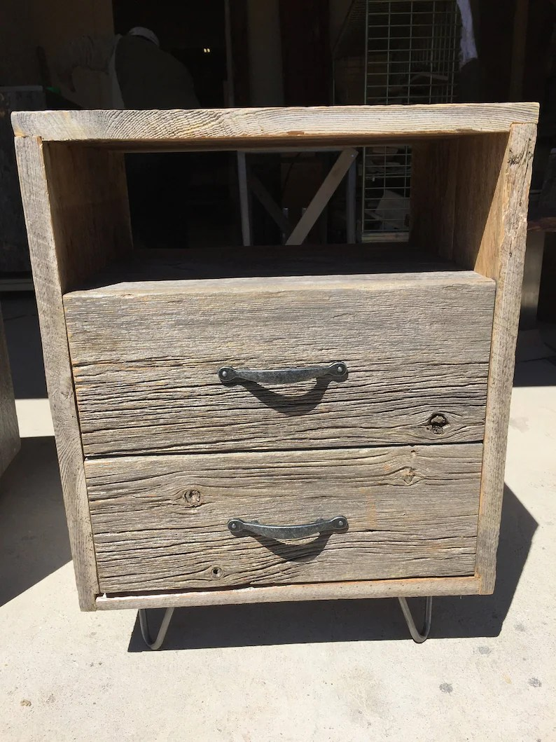 Reclaimed Wood Nightstands Hairpin Leg Bedroom Furniture Farmhouse Nightstands Rustic Bedroom Furniture Bed Side Tables Barn Board
