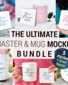 Mug Coaster Mockup Bundle Square And Round Coaster With Etsy