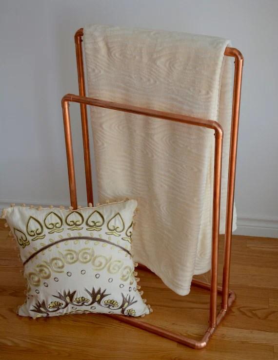 living room blanket holder modern interior design 2017 copper stand quilt towel rack rail free etsy image 0