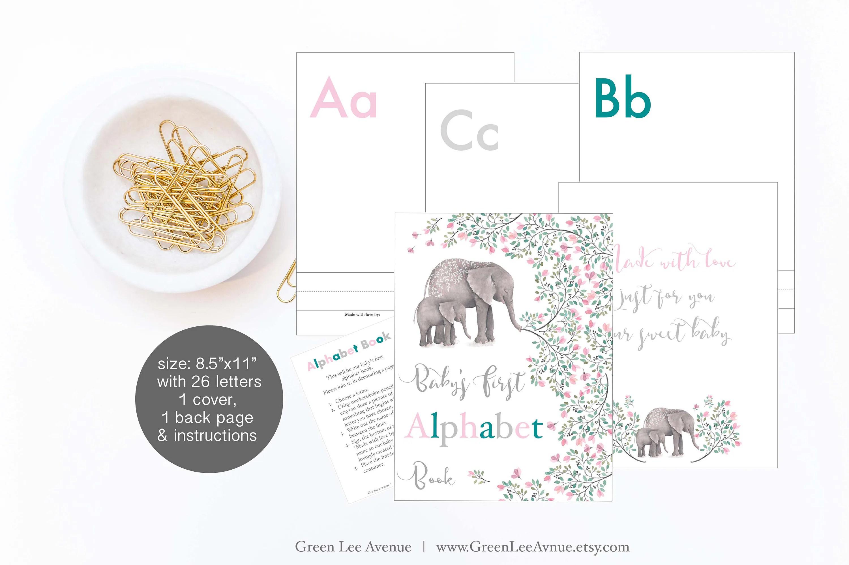 Pink Elephant Alphabet Book Baby Shower Activity 8 5x11
