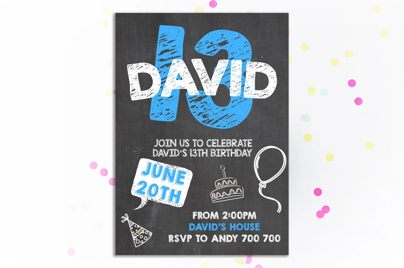 13th birthday invitation boy birthday invitation 13th birthday invitation chalkboard birthday invite tween to teen boy birthday number 13