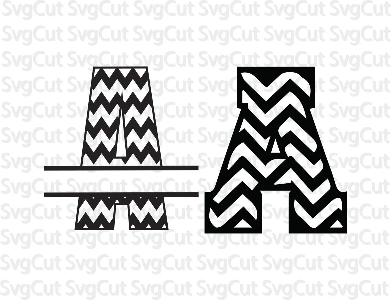 2 Chevron Font Bundle Chevron Split Letter Alphabet Svg