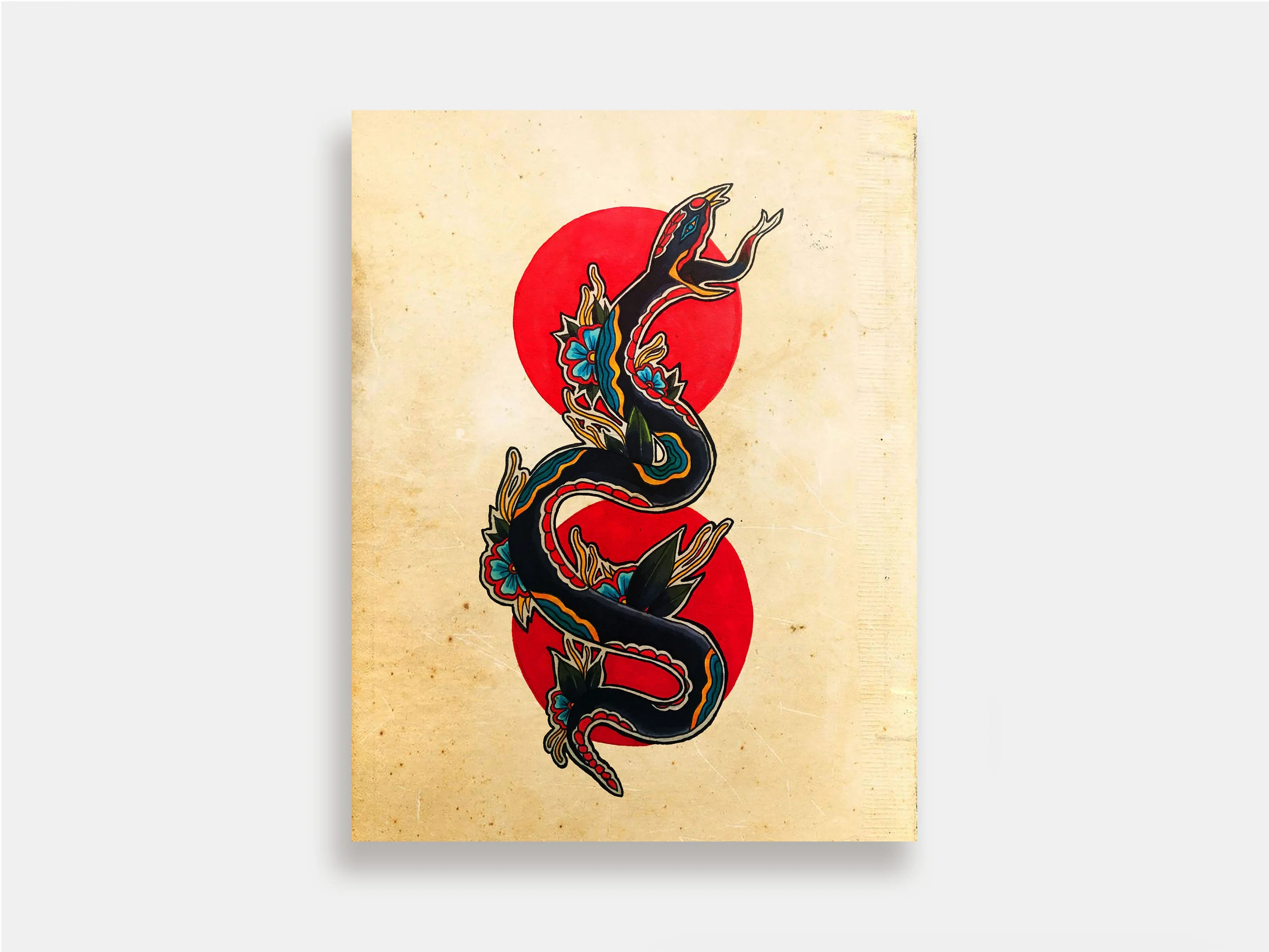 Neo Traditional Snake Tattoo Flash