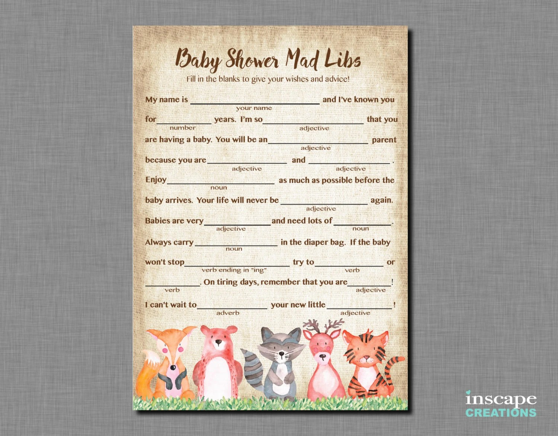 Woodland Mad Libs Game Printable Woodland Animals Baby