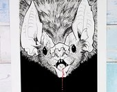 Hand-embellished Giclée Print 'Drain' - A4 size pen drawing of a vampire bat by Wild Portrait Artist, Inktober 2018 pen and ink illustration