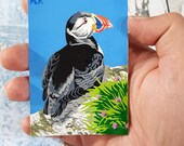 Resting Puffin - 3.5 x 2.5 inch adorable miniature original painting of an atlantic puffin in paint markers, Artist Trading Card, ACEO, ATC