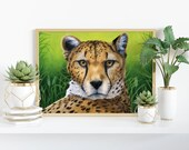 Giclée Art Print 'Relaxed Afternoon' -A4 size coloured pencil drawing by Wild Portrait Artist, realistic painting of a cheetah