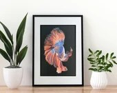 Giclée Art Print  'Flowing' - A4 size painting in watersoluble wax crayon of a betta fish / Siamese fighting fish by Wild Portrait Artist