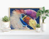 Giclée Art Print, Knobbed Hornbill - A4 size coloured pencil drawing by Wild Portrait Artist, realistic painting of a colourful hornbill
