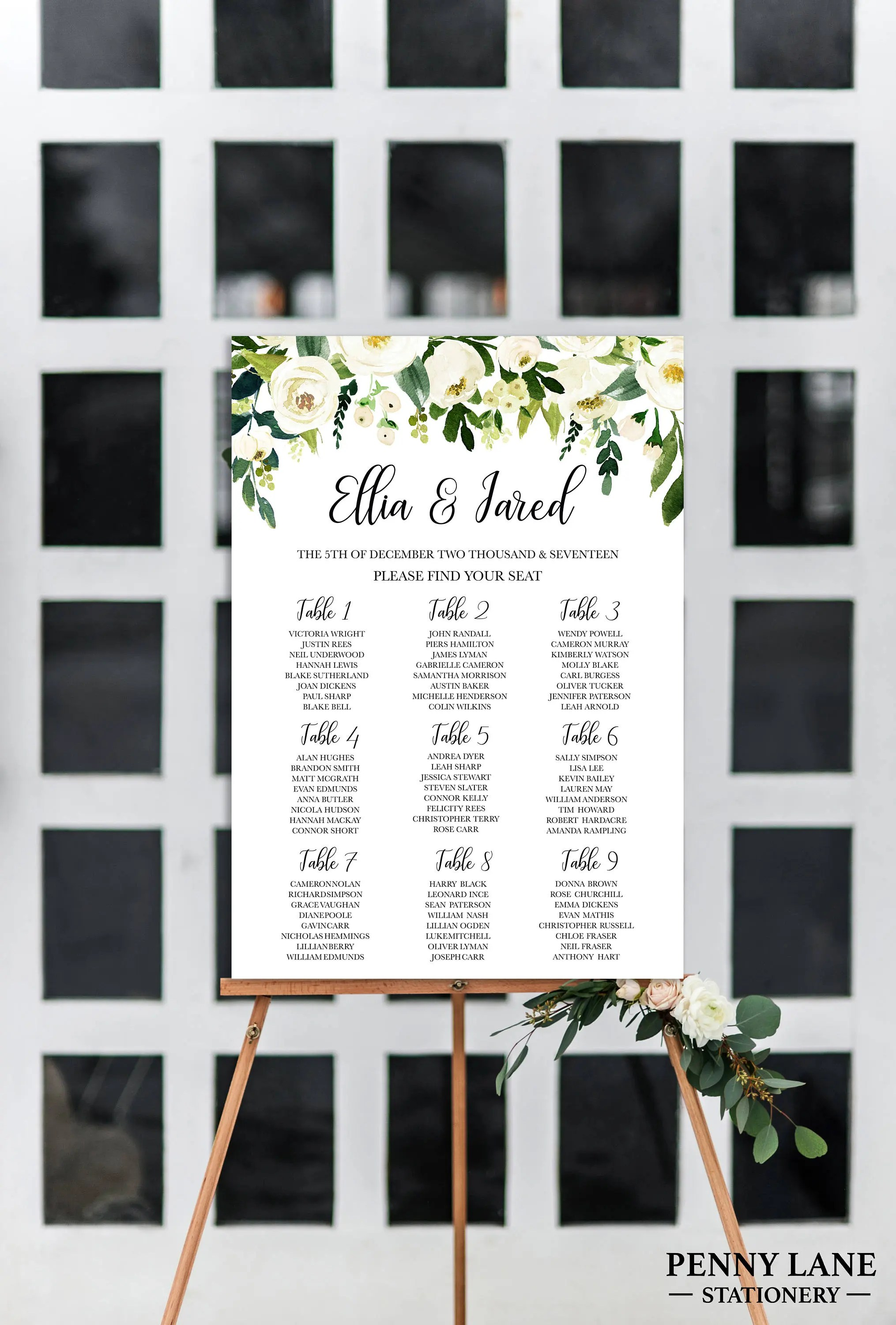 Wedding seating charts plans chart template signs white floral chartwf also etsy rh