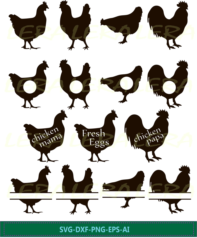 Chicken Silhouette Svg : chicken, silhouette, Chicken, Monogram