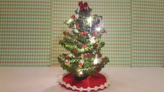 Dollhouse Miniature Christmas Tree With Lights Red And White Etsy