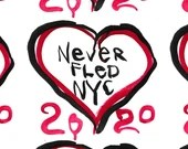 NEVER FLED NYC 2020 Handmade Wearable Art Face Mask Reusable 100% Cotton 3-layer Cover Hospital-Grade Filter & Nose Clip