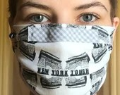 NEW YORK TOUGH Handmade Wearable Art Face Mask Reusable 100% Cotton 3-layer Cover Hospital-Grade Filter & Nose Clip