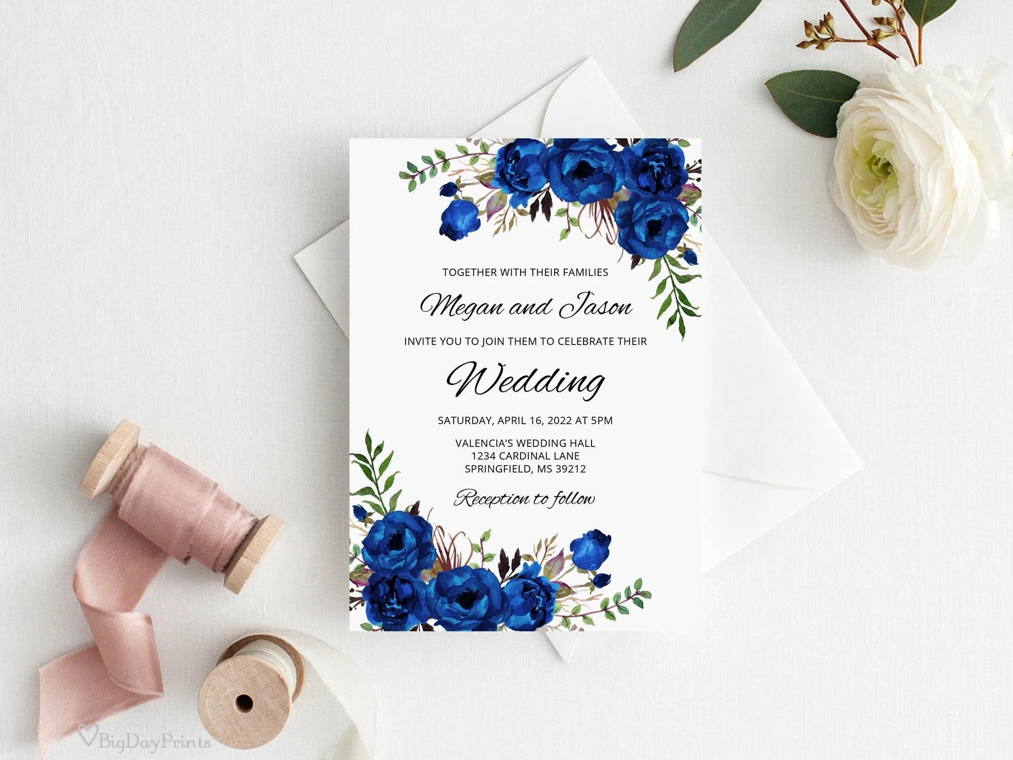 royal blue invite etsy