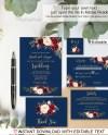 Navy Wedding Invitation Template Boho Chic Wedding Invitation Etsy