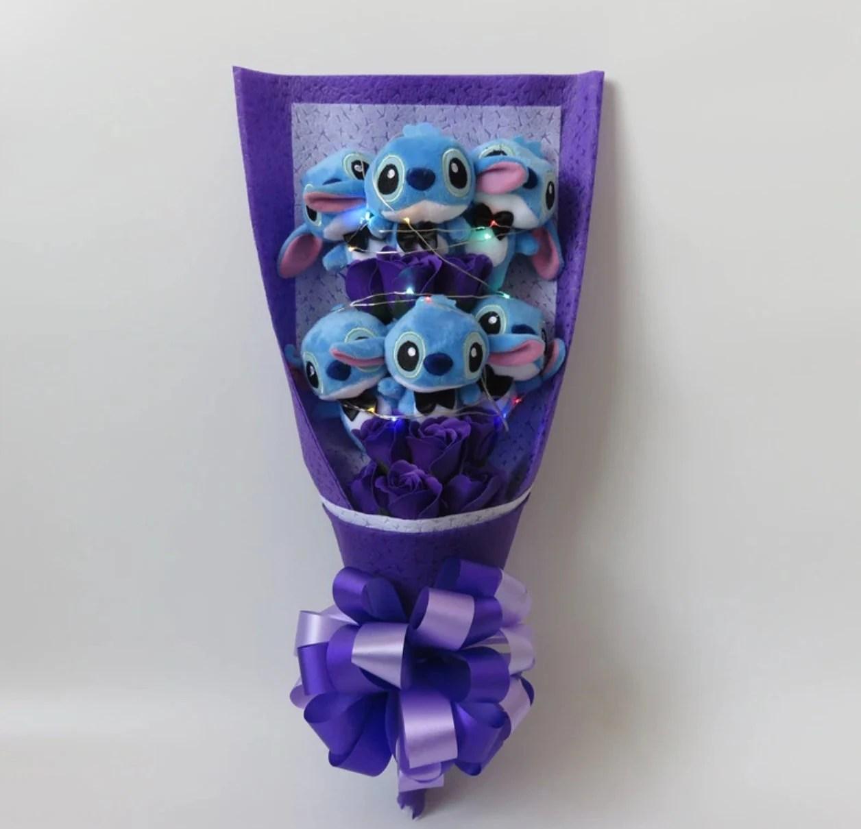 Inspired by Disney Stitch and Lilo stuffed cartoon bouquet Purple