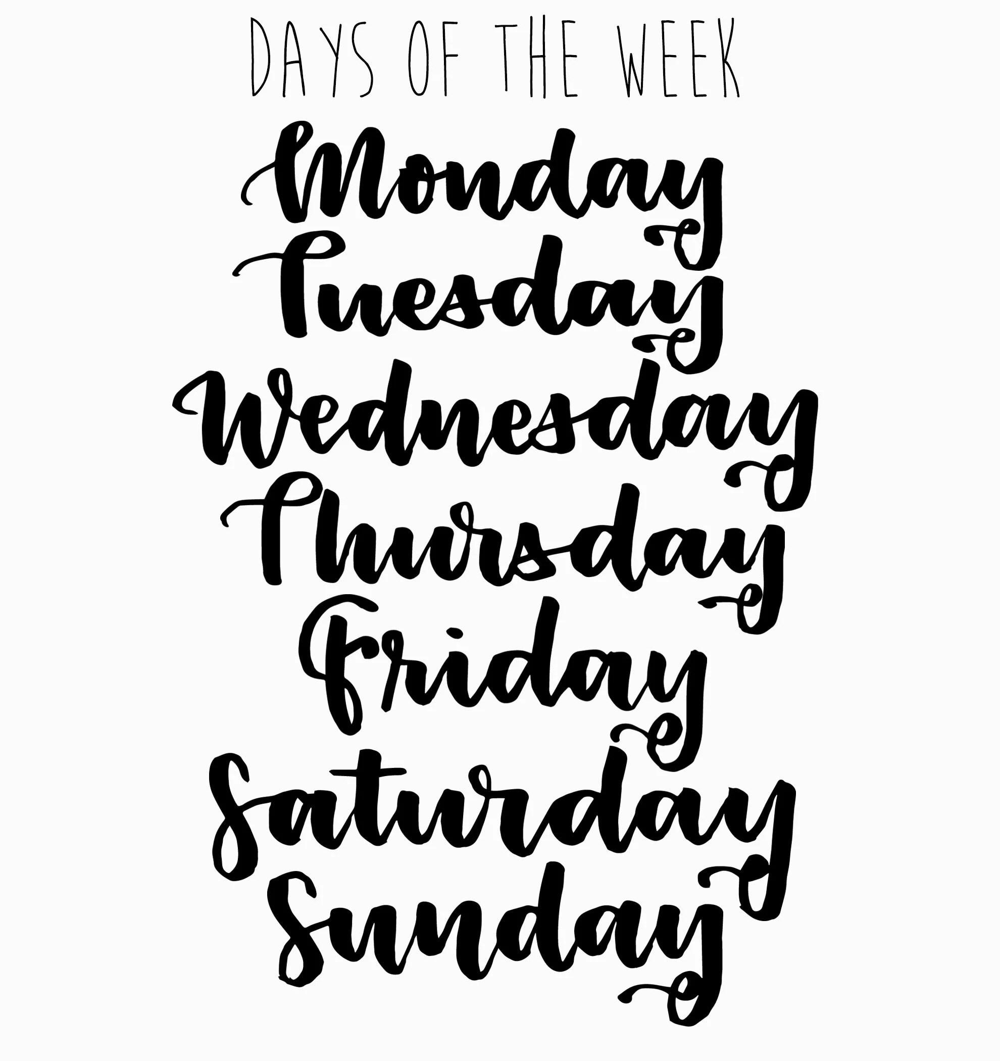 Days Of The Week Clip Art Set Word Art Clip Art Black