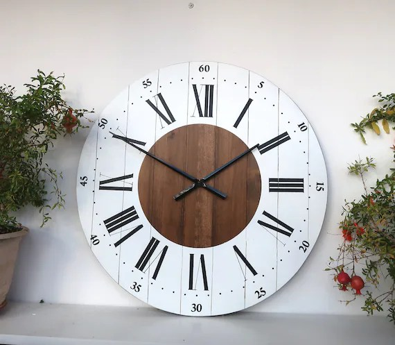 rustic kitchen clock second hand units large wall 24 inch decor etsy image 0