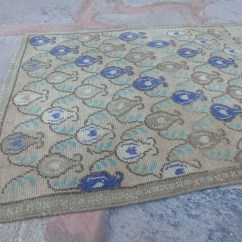 Kitchen Runner Framed Art Oushak Rug Turkish Rugs Anatolian Etsy Blue On Brown Decorative Design 2 X 7 70 221 Cm