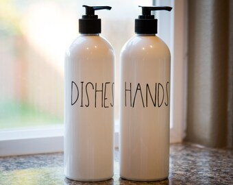 kitchen dish soap dispenser installing countertop etsy hands and dishes white decor farmhouse labeled bottles for organization labels