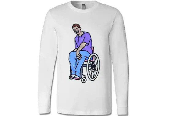 wheelchair drake batman chair for adults jimmy unisex long sleeve t shirt degrassi etsy image 0