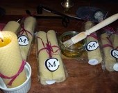 """13cm x 3cm """"BLESSED CANDLES"""" Pair of Hand Rolled Beeswax Votive Candles (A5)"""