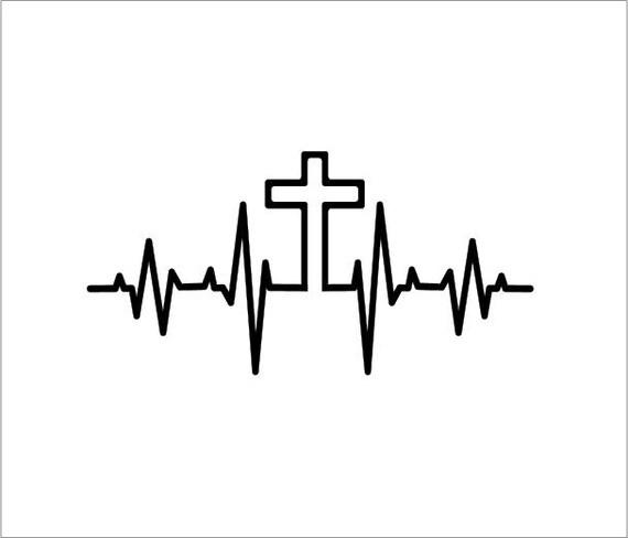holy cross heartbeat car window bumper / tumbler / laptop