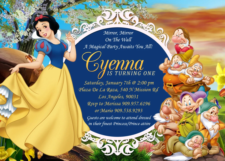 Snow White Amp Seven Dwarfs Birthday Invitation Snow White