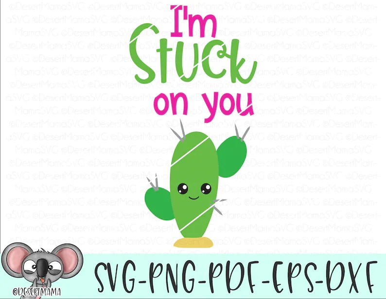 I'm stuck on you svg eps dxf png cricut or cameo scan   Etsy