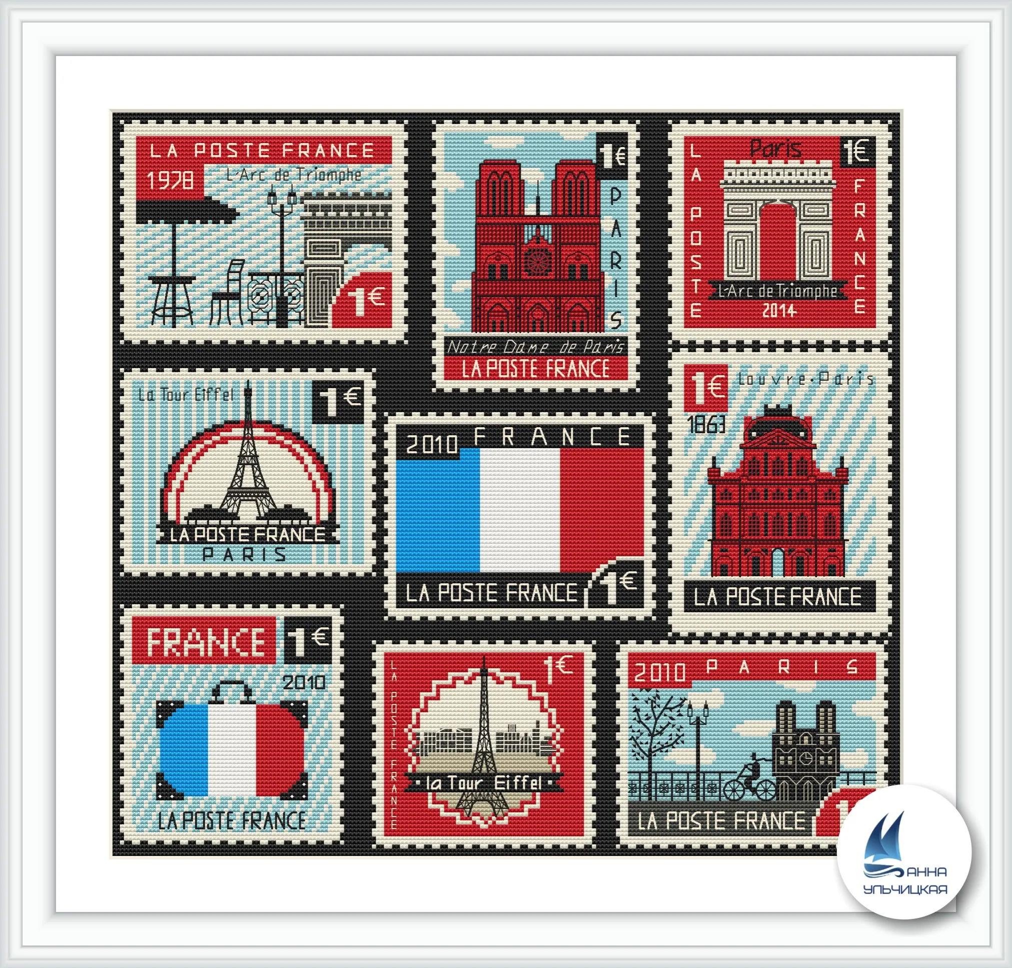 Cross Stitch Pattern French Postage Stamps Digital