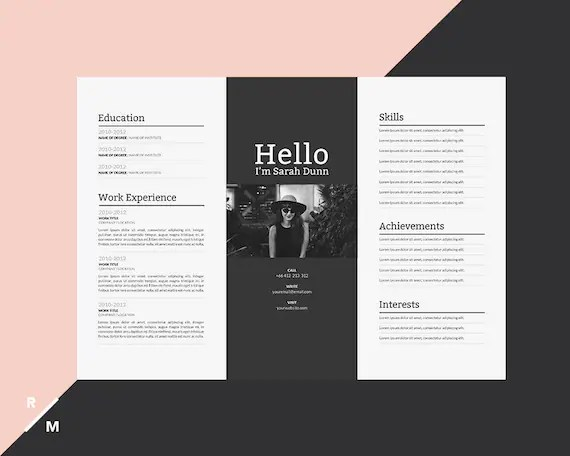 Creative Resume Template Horizontal Landscape Modern   Etsy